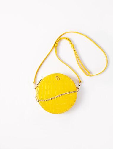Round embossed leather handbag : Shoulder bags color Ecru