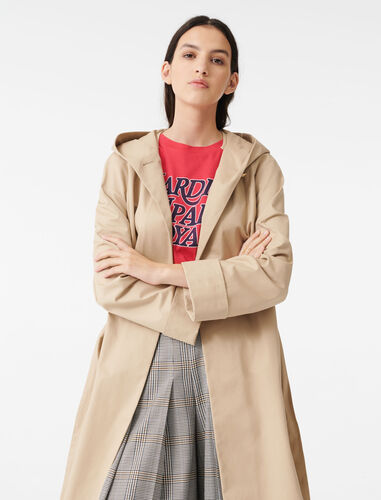 Hooded trench coat with belt : Coats & Jackets color Camel