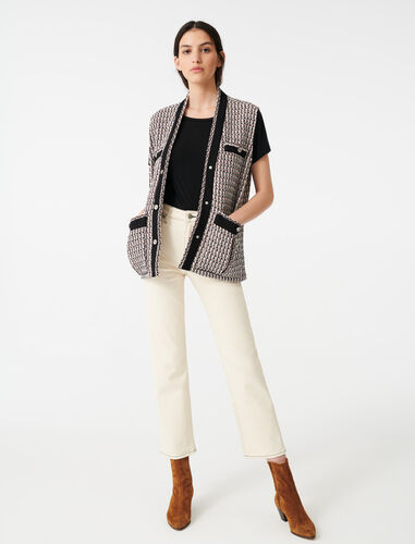 Sleeveless lurex tweed-style jacket : Coats & Jackets color Multi-Coloured