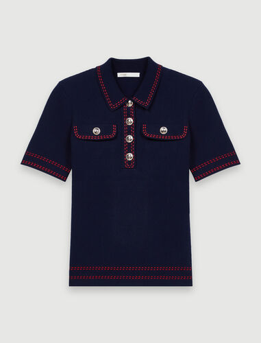 Short-sleeved polo-style jumper : T-Shirts color Ecru