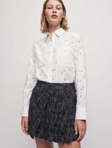 Embroidered openwork poplin shirt : Shirts color White