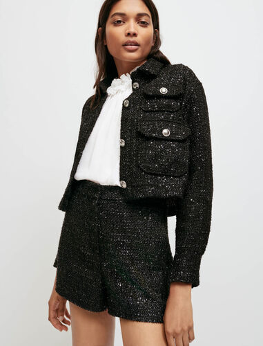 Sequinned tweed-style shorts : Skirts & Shorts color Black