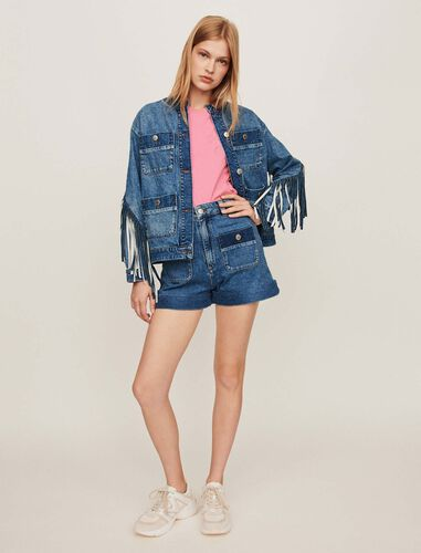 Denim jacket with fringes : Coats & Jackets color Blue