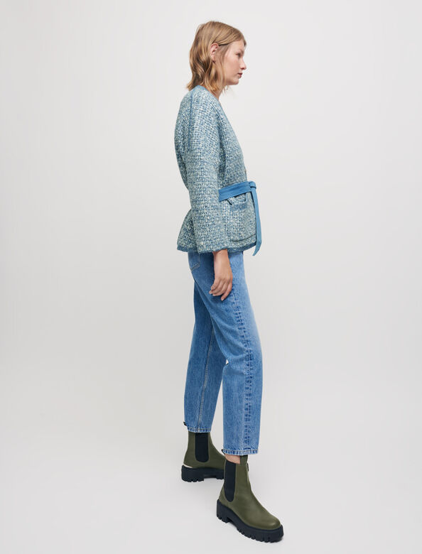 Belted fancy knit cardigan : Sweaters & Cardigans color Blue Sky