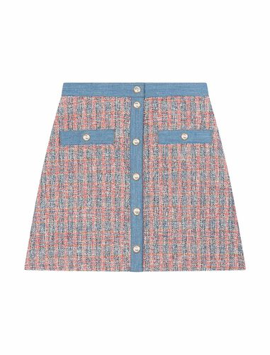 Tweed skirt with denim contrasts : CNY Capsule Collection color Red/Blue