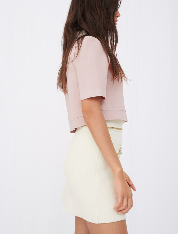 Straight skirt in tweed with chains - Skirts - MAJE