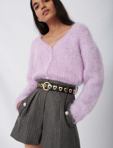 Mohair cardigan with fancy buttons : Cardigans color Parma Violet