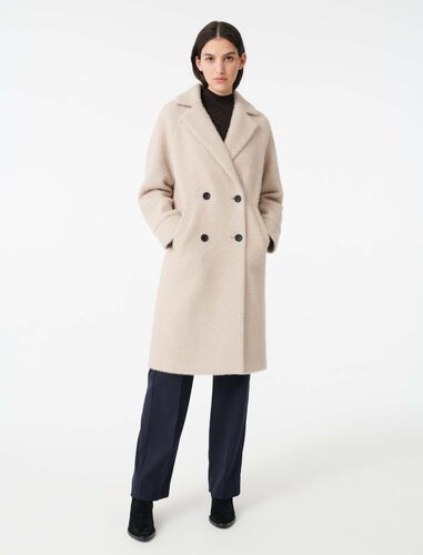 Double-breasted mini houndstooth coat : Overcoat color Ecru