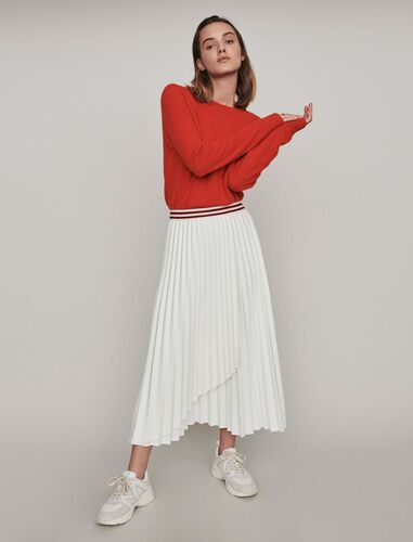Pleated skirt with contrasting stripes : Skirts color Ecru