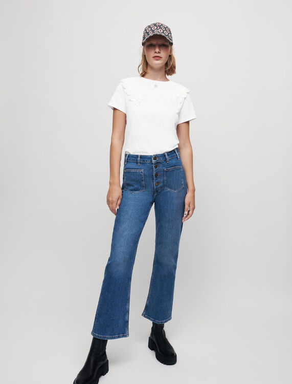 Jersey T-shirt with large collar - T-Shirts - MAJE