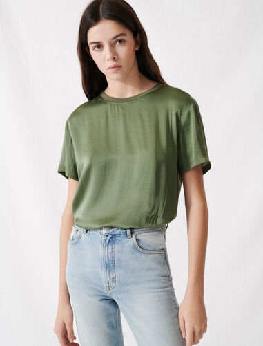 Material mix cotton and silk T-shirt : Summer Collection color Khaki