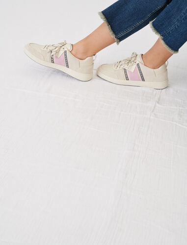 Two-tone leather sneakers : Sneakers color Beige/Sugared pink