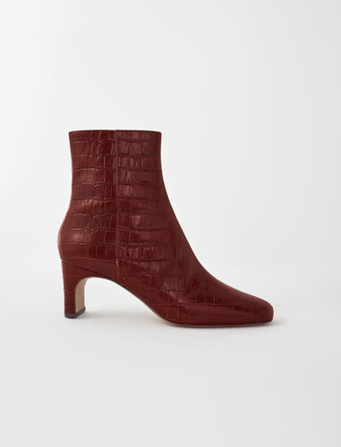 Croc-effect embossed leather boots : Boots & Flat shoes color Cognac