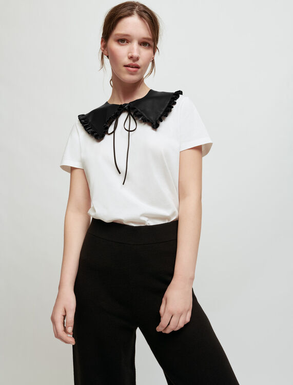 White T-shirt with removable collar - T-Shirts - MAJE