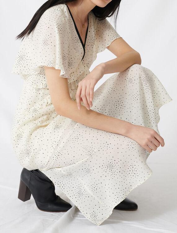 Long ruffled dress with V neckline : Dresses color Ecru