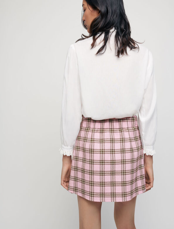 Checked pleated skirt : Skirts & Shorts color Pink