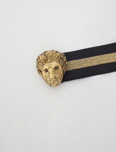 Elasticated belt with gold-tone details : Belts color Black/gold