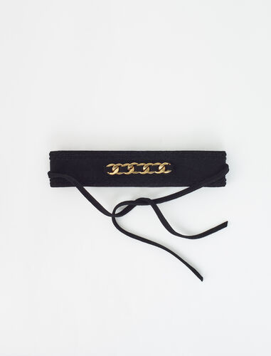 Suede belt with chain : Belts color Black