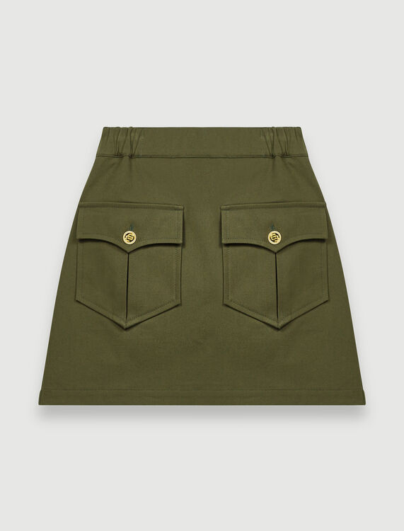 Khaki cotton skirt with pockets : Skirts color Dark Khaki