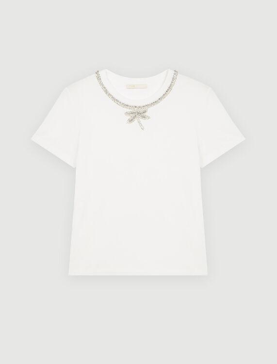 T-shirt with rhinestone collar - T-Shirts - MAJE