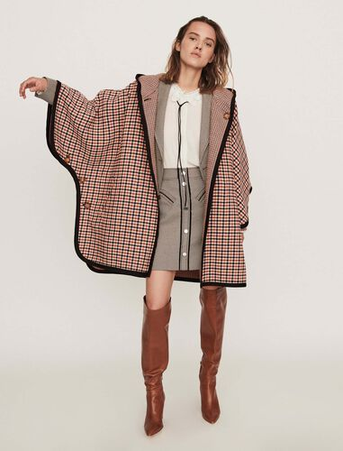 Reversible poncho coat : Overcoat color 格子灰