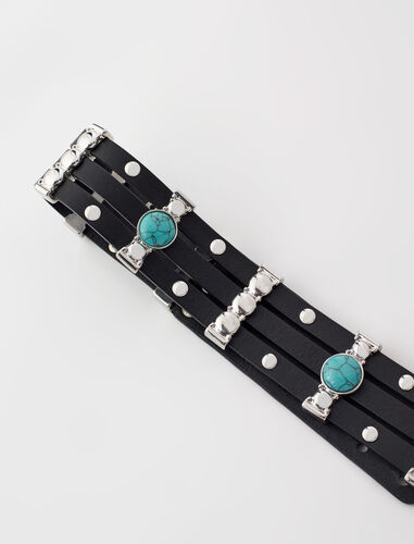 Studded belt with turquoise stones : Belts color Black