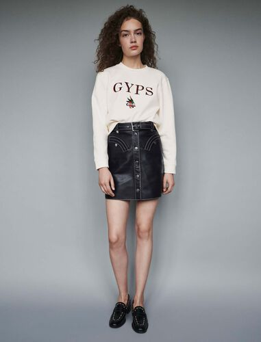 Embroidered sweatshirt : Tops color White