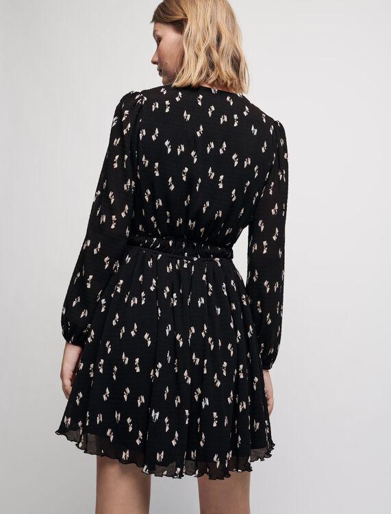 Bow print pleated dress - Dresses - MAJE