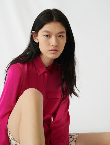 Fuchsia silk satin shirt : Shirts color Pink