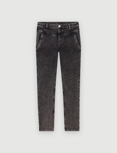 Straight-cut ripped jeans with pockets : Jeans color Black
