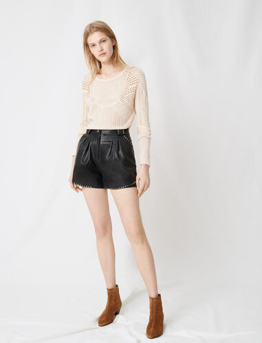 Leather studded shorts : Shorts color Black