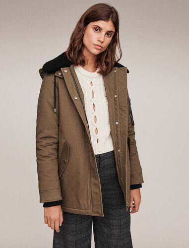 Shearling parka with collar : Overcoat color Khaki