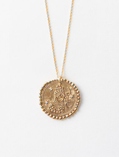 Virgo zodiac sign necklace : Jewelry color Old Brass