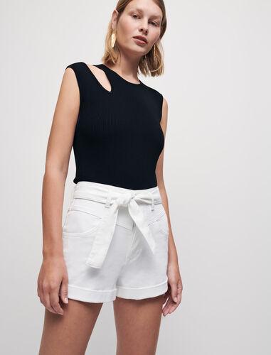 Belted denim shorts : Shorts color White