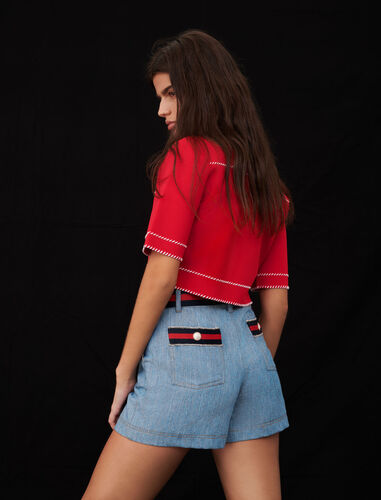 Denim shorts with contrasting belt : null color Red/Blue