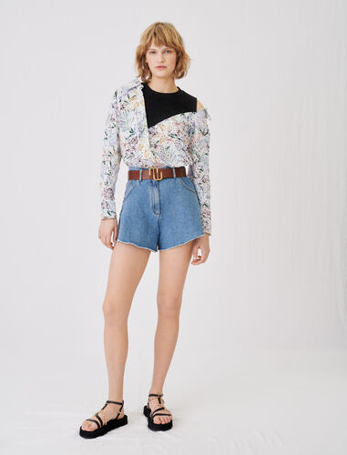 Mock top with embroidered print : Tops color White Jungle