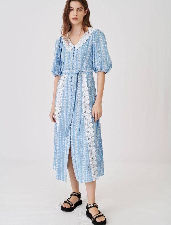 Dress with contrasting trims : Dresses color Light Blue