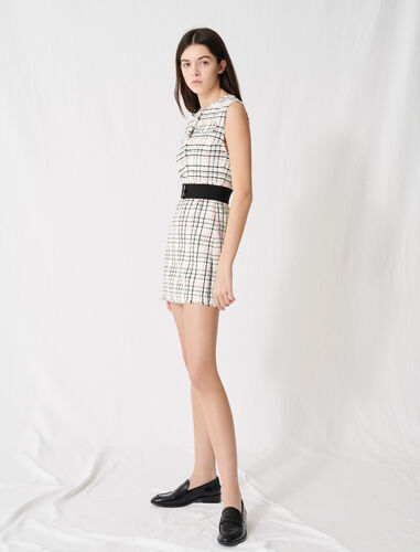 Belted tweed mini dress : Dresses color Ecru