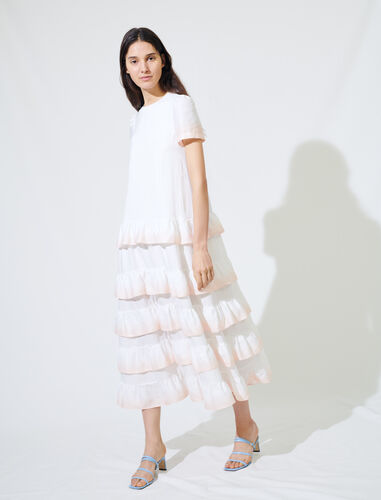 Gradated tie-dye style ruffled dress : Dresses color White