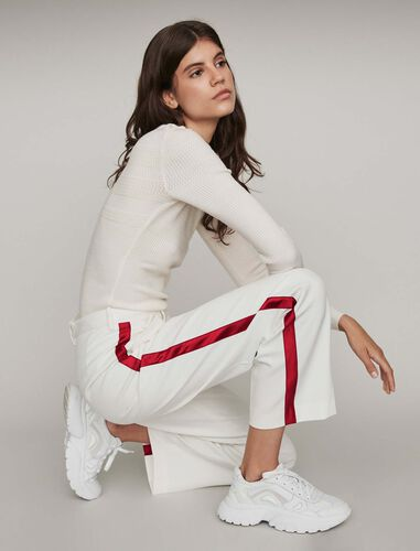 Wide-leg pants with contrasting stripes : Trousers color Ecru