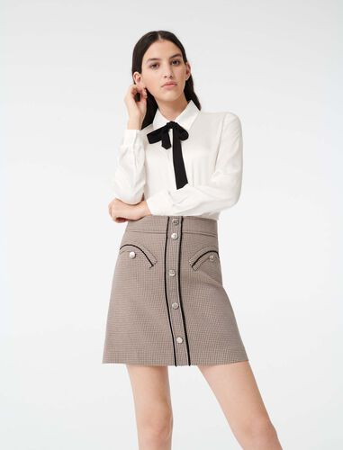 Satin shirt with contrast tie : Shirts color White