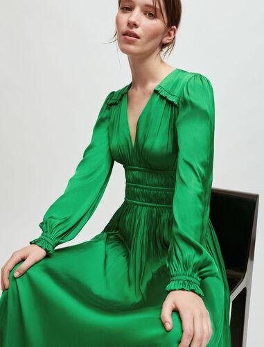 Flowing satin dress : Dresses color Green