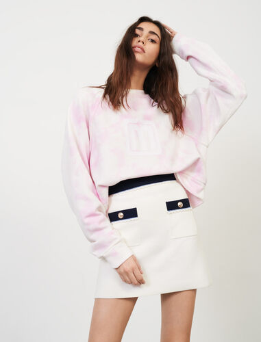 Straight-cut, contrasting knit skirt : Skirts & Shorts color Ecru