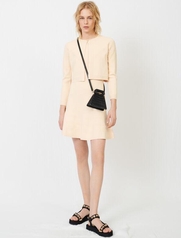 Fine knit jacquard dress : View All color Beige