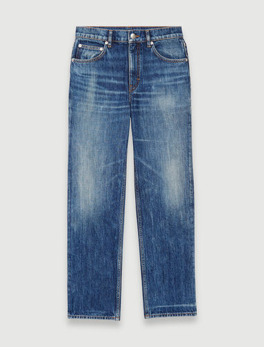 Faded straight-cut jeans : Jeans color Blue
