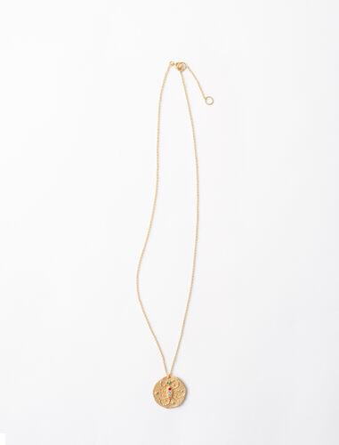 Scorpio zodiac sign necklace : Zodiac medals color Gold