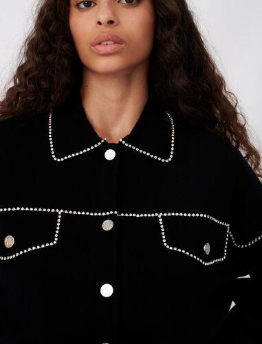 Overshirt-style rhinestone cardigan : Cardigans color Black