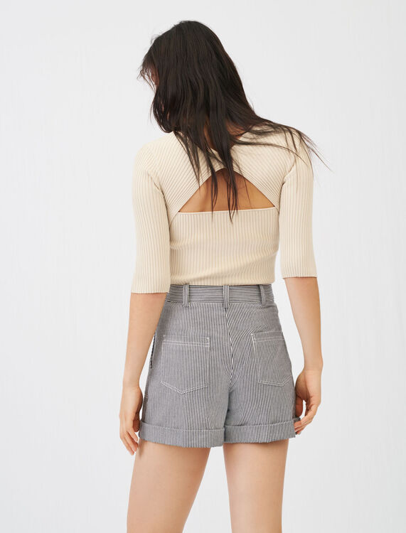 Fine ribbed sweater with an open back - Sweaters - MAJE