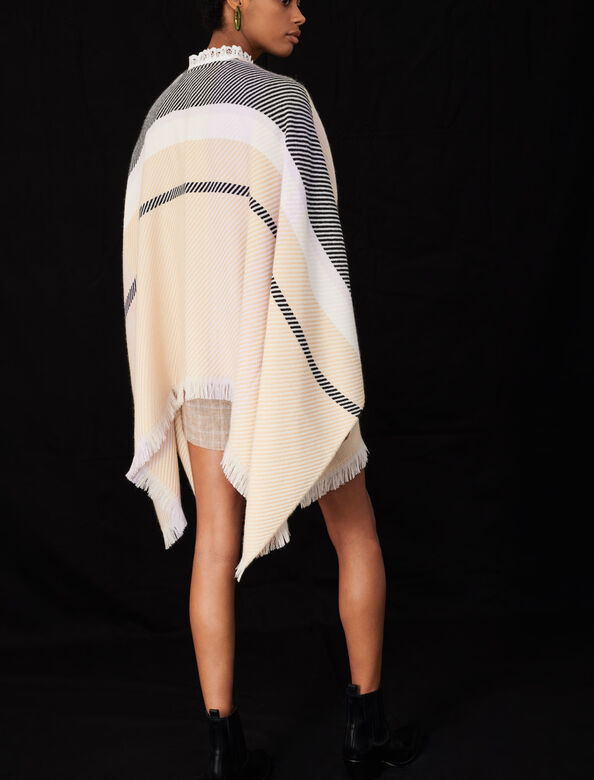 Jacquard poncho : Other accessories color Beige/Sugared pink