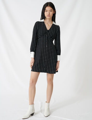 Polka dot dress with contrasting details : NEW IN color Black / White